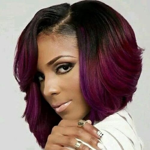 purple haircuts for thick hair