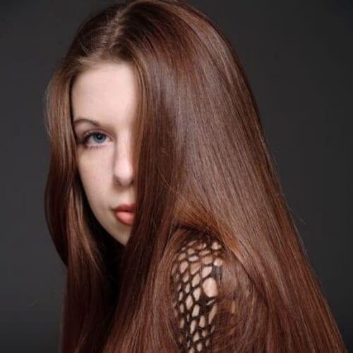 straight chestnut hair color