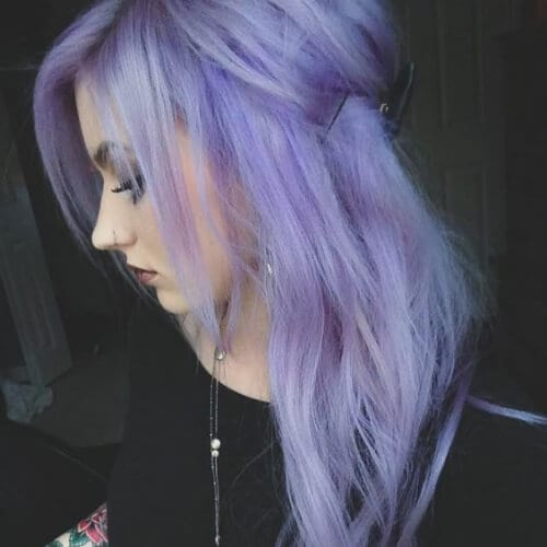 ashy purple side hairstyles for prom