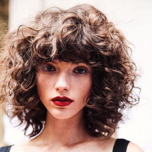 bob curly hair with bangs