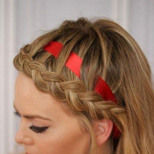 braided bang hairstyles ribbon
