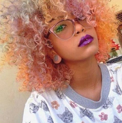candy curly hair with bangs
