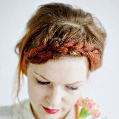 copper braided bang hairstyles
