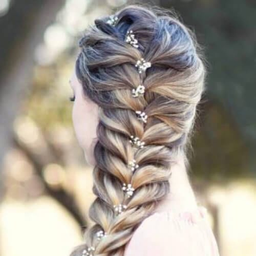 decorated fishtail side hairstyles for prom