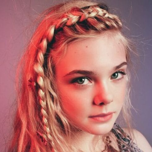 elle fanning braided bang hairstyles