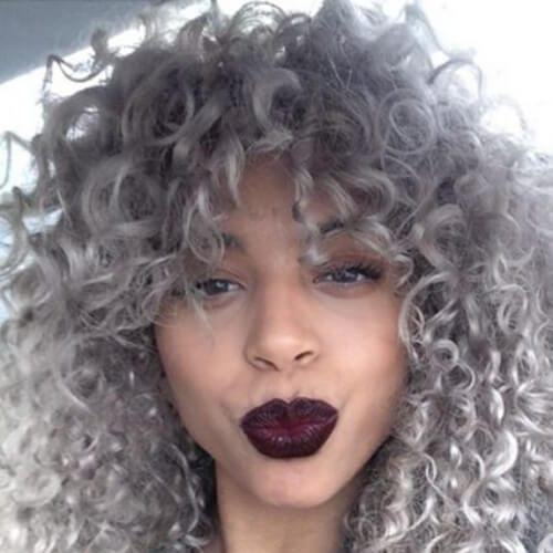 gray curly hair with bangs
