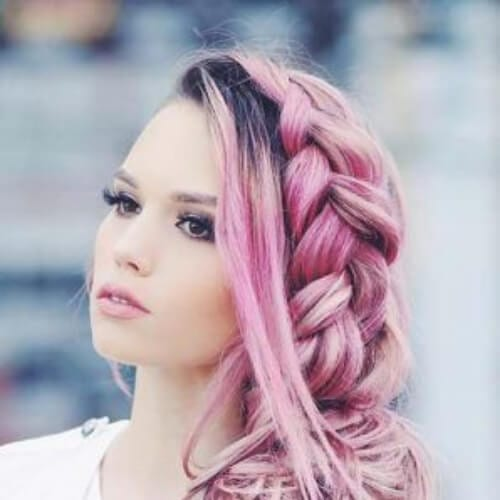 lilac side hairstyles for prom