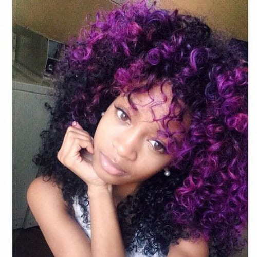 purple curly hair with bangs