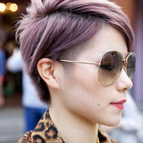 purple undercut short haircuts for straight hair