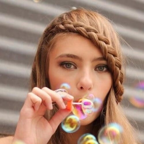 sweet braided bang hairstyles