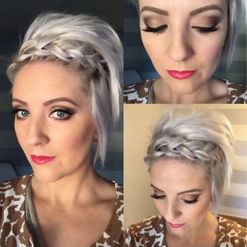teased up french braided bang hairstyles