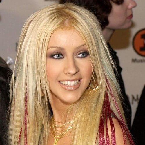Christina Aguilera crimped hairstyles