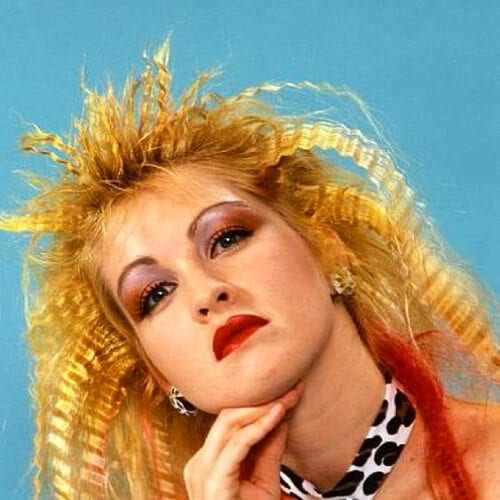Cyndi Lauper crimped hairstyles