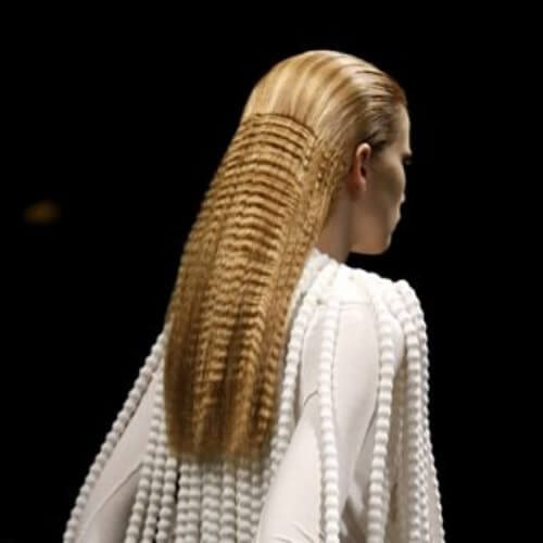 Givenchy crimped hairstyles