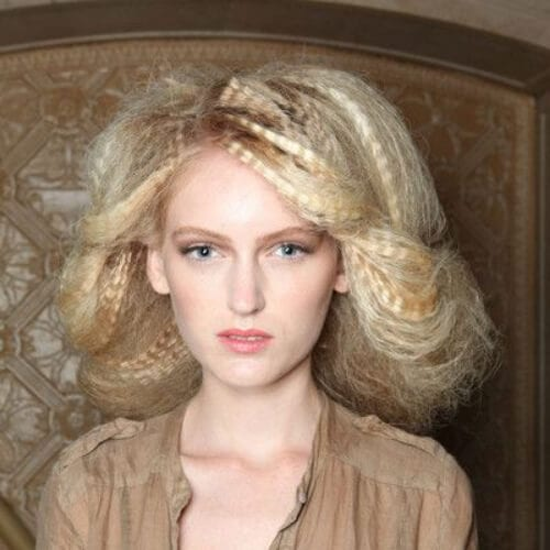 blonde crimped hairstyles