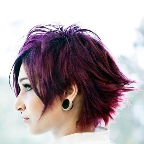 purple short punk hairstyles