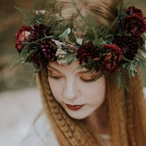 winter wedding crimped hairstyles