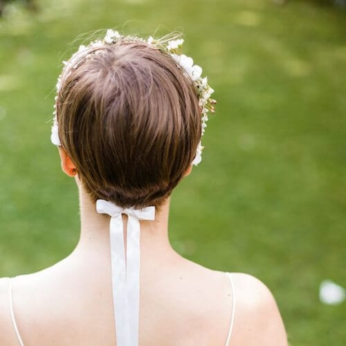 Flower Crown Ribbon Bride Short Hair Style Bridal Graceful Relaxed Summer Garden Wedding hairstyles for short hair