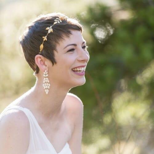 Gold Bridal Headpiece wedding hairstyles for short hair