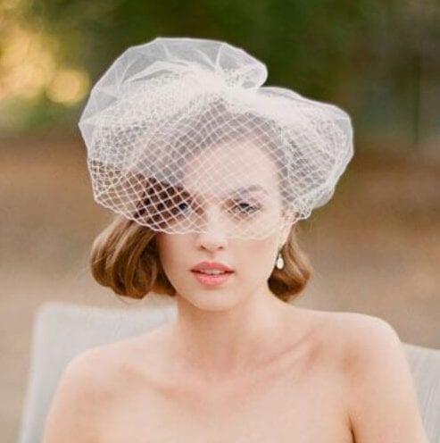 blusher veil wedding hairstyles for short hair