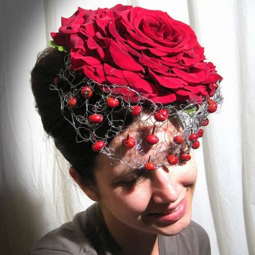 composite rose hat... with rosehips wedding hairstyles for short hair