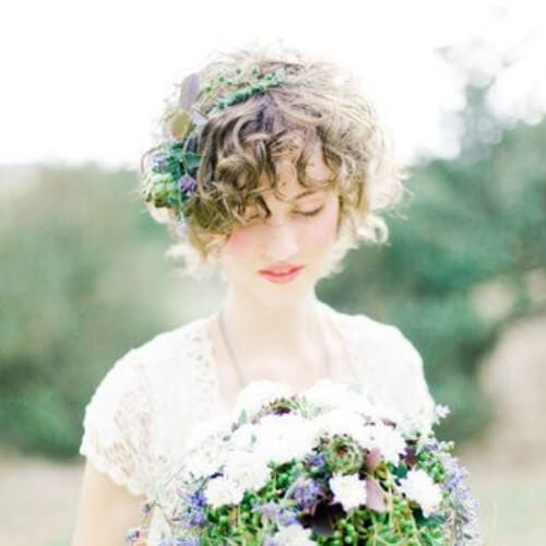 curly bangs wedding hairstyles for short hair
