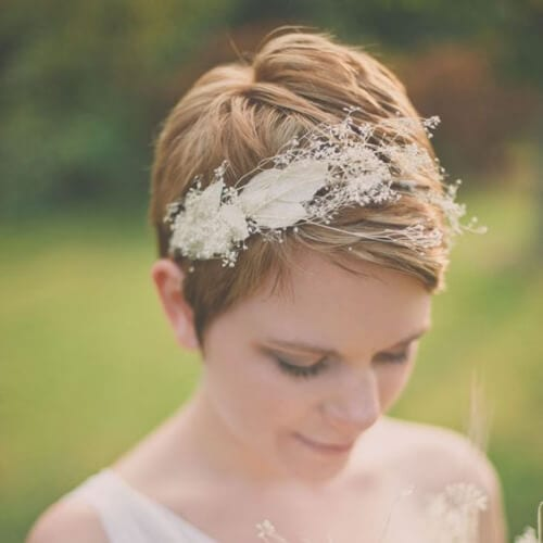 feathery wedding hairstyles for short hair