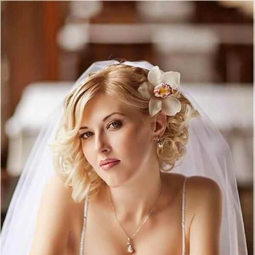 flower wedding hairstyles for short hair