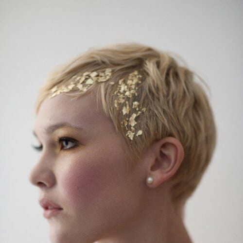 gold foil leaf wedding hairstyles for short hair