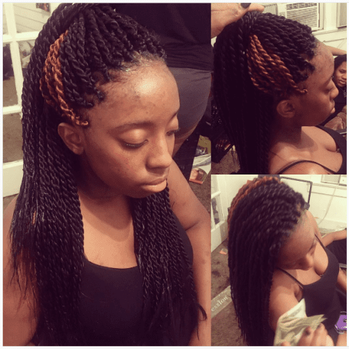 halfdo with twisted braids