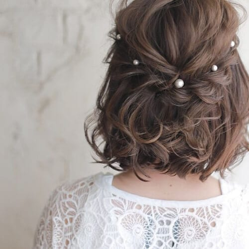 pearl wedding hairstyles for short hair