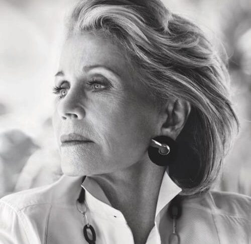 Actress Jane Fonda hairstyles graces the November 2017 cover of Town & Country Magazine ralph lauren shirt