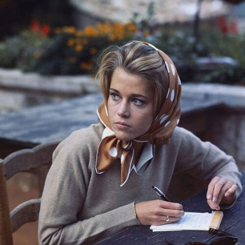 Jane Fonda hairstyles during a break in filming at Auberge de la Colombe d'Or in Saint-Paul-de-Vence, photo by Francois Pages, Sept. 1963