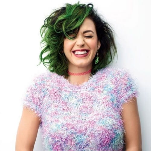 messy green bob katy perry hairstyles