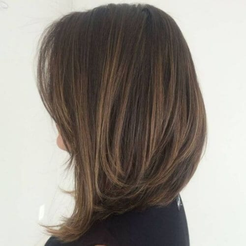 Long Brown A Line Bob haircut