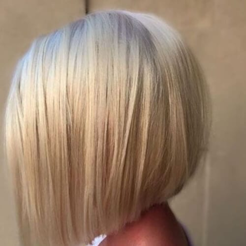 creamy blonde a line bob haircut