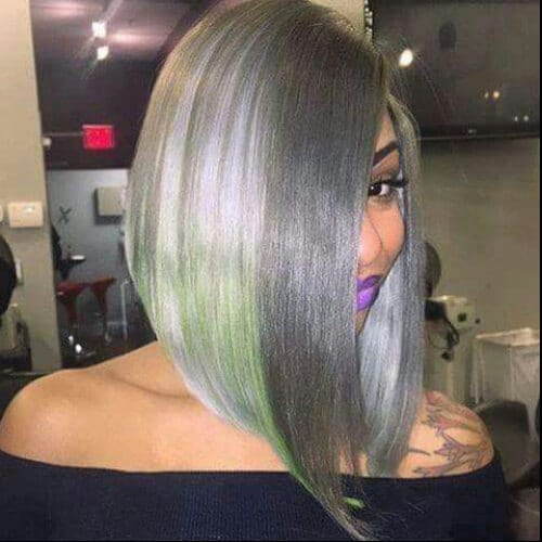 gray green a line bob haircut
