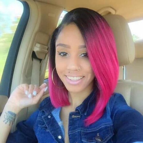 hot pink a line bob haircut