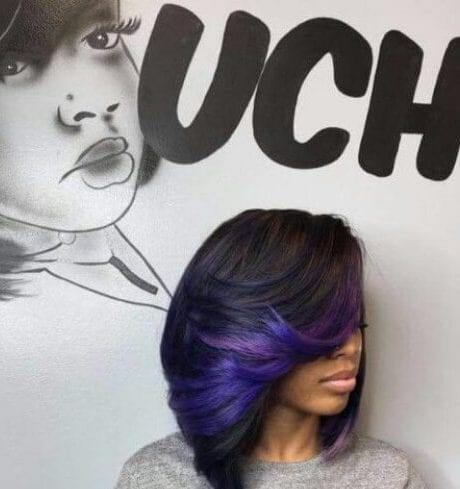 purple blue a line bob haircut