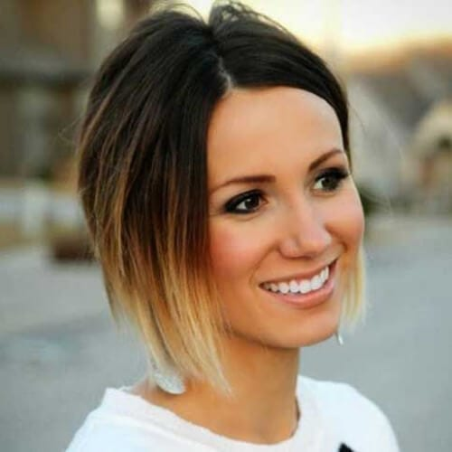 short ombre a line bob haircut