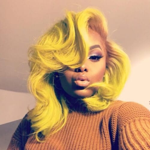 yellow a line bob haircut