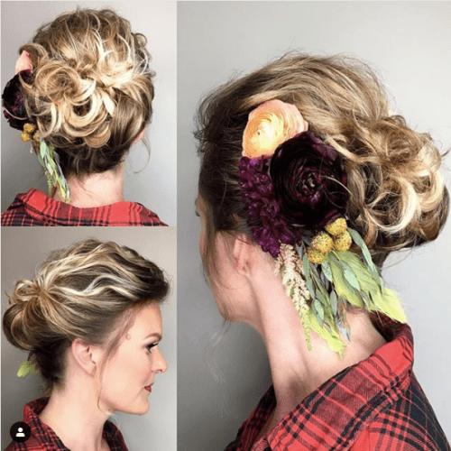 Hair Piece Mid Bun for Short Hair with Flowers