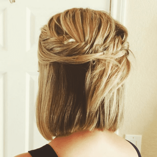 Half Up, Half Down Hairstyle for Short Hair with Braid