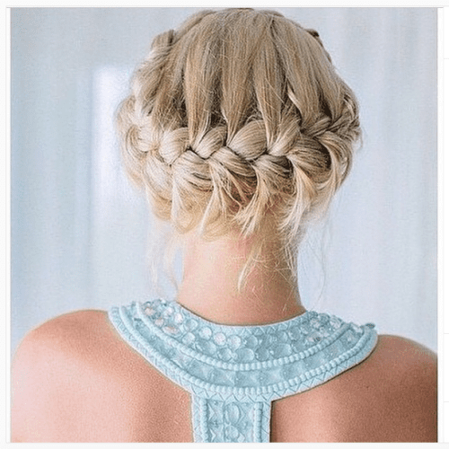 double braided updo for long hair