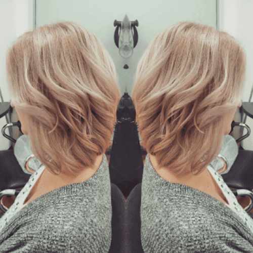 long bob with strawberry blonde hair color