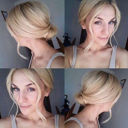 messy low bun updos for short hair