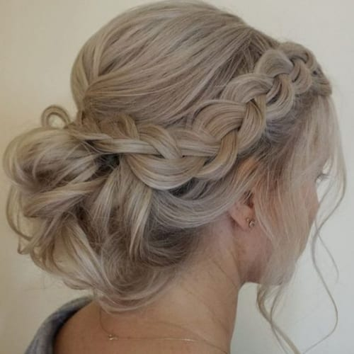 Side Braid Low Updo for Long Hair