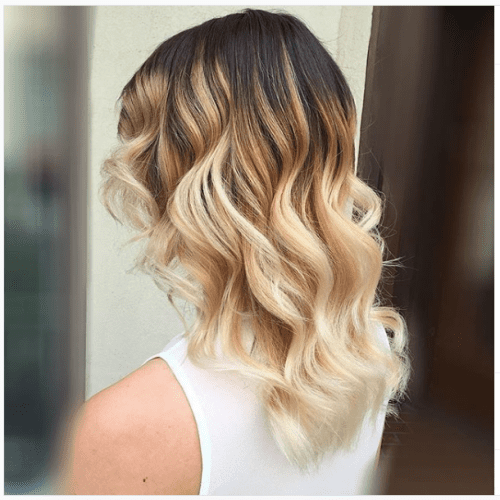 blonde ombre highlights on caramel hair