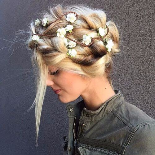 braided updos with flowers