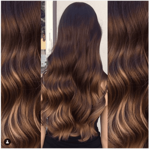 caramel highlights on dark chocolate hair